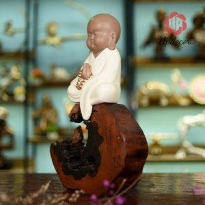 Tượng Chú Tiểu Ngồi Thiền Trang Trí, Decor Nhà Cửa, Bàn Làm Việc