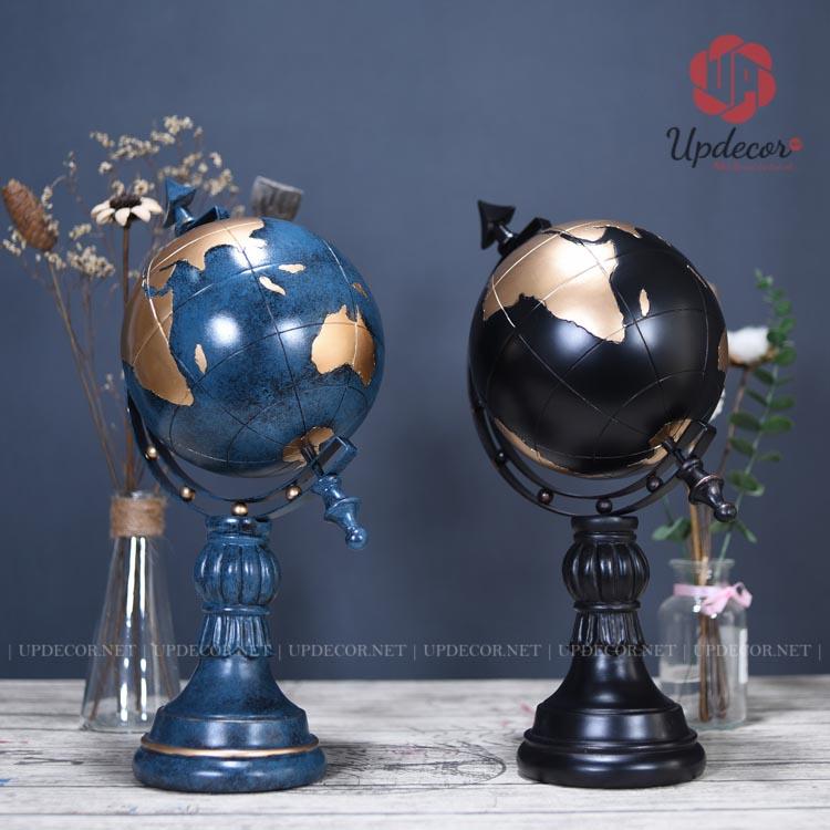 Quả địa cầu trang trí được thiết kế với hai màu xanh cổ vịt và màu đen rất đẹp mắt