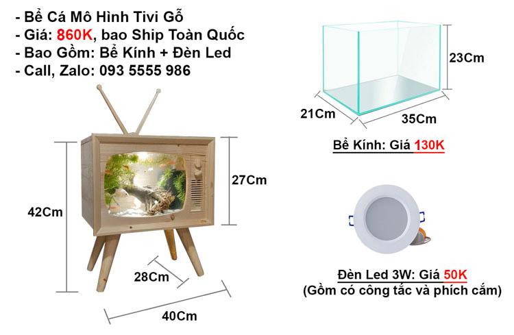Giá Khung Gỗ (680K) + Bể Kính(230K) + Đèn Led(50K) = 960K.