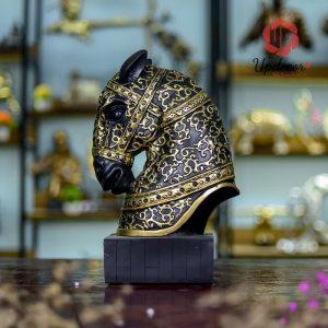 Tượng Đầu Ngựa Vàng Đen Trang Trí, Decor Nhà Cửa