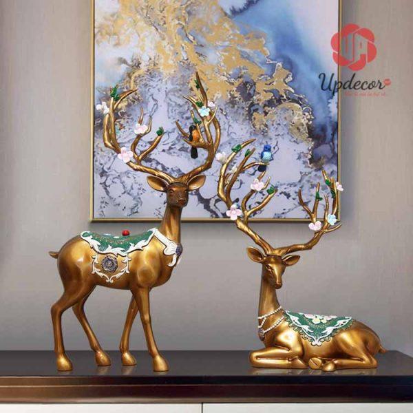 Tượng trang trí decor là cặp hươu tài lộc rất ấn tượng