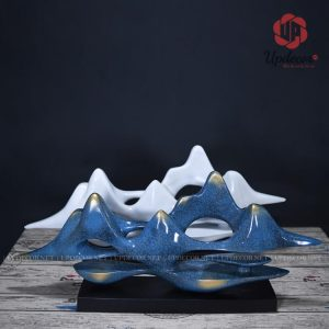 Đồ decor trang trí kệ tivi phòng khách là hình ảnh Mây Núi Vân Sơn rất độc đáo