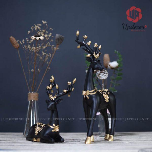 Tượng cặp hươu nai màu đen rất cá tính và sang trọng