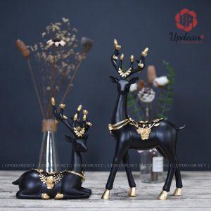 Tượng cặp hươu trang trí decor màu đen rất độc đáo và mới lạ