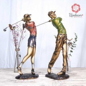 Đồ decor cặp tượng đánh golf trang trí được thiết kế rất ấn tượng và tinh tế